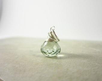 L - Sterling Silver Prasiolite Pendant - Green Amethyst Necklace Charms - Light Green Gemstone - JustDangles Handmade Jewelry