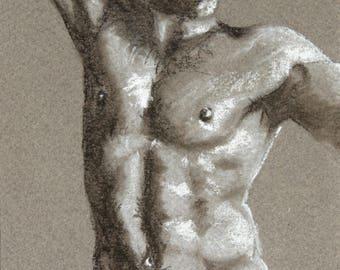 Nude drawing, shirtless man in pastel, signed original