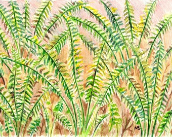 "Fern Art, Original Drawing, Woodland Wall Art, Fern Wall Decor, Color Pencil, Pen and Ink 5x7"" Fern Drawing"