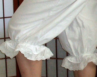Flannel Bloomers 2X-5X Womens Plus size Eyelet Lace Pantaloons Custom Made