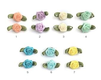 Satin Ribbon Rose, Sew On Flower, Flower Appliques, Fabric Rose Bud, Craft Embellishment, 7 Colors, 10x20, 8K06BB, P139