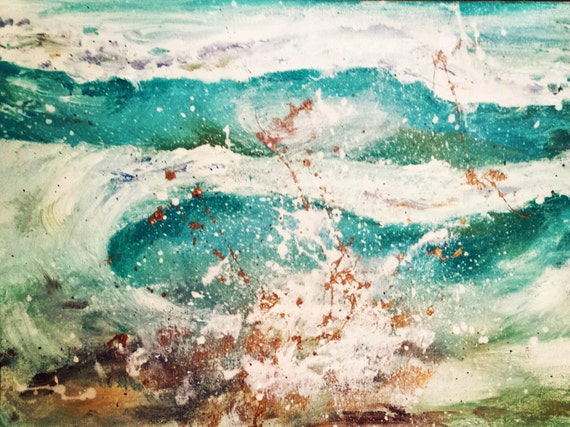 abstract wave painting giclee or print