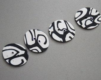 Op Art Quartet of Buttons
