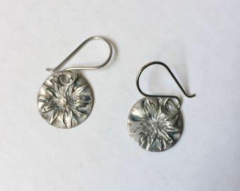 new artisan sterling earrings, flower discs
