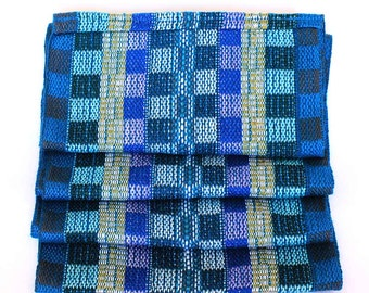 Blue Plaid Scarf - Handwoven Scarf - Cotton Infinity Scarf - Royal Blue Scarf - Blue and Yellow Scarf - Gift Ideas for Women