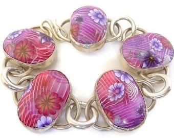 Colorful Boho Bracelet, Multicolor Boho Bracelet, Romantic Bracelet Gift, Flower Bracelet Gift, Silver Flower Bracelet, Unique Bracelet Gift