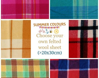 Wool blanket pieces / Felted wool fabric / Wool felt - Vintage wool felt blanket sheet for CRAFT - woven felt - SUMMER colours Australia