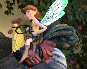 Hiddleston Cowboy Fairy riding a Vintage Rooster original art doll OOAK