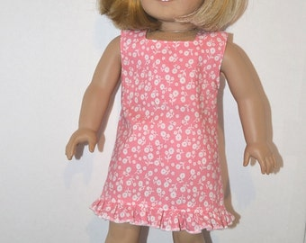 Sweet Summer American Made Dress fits 18 Inch Girl Soft Bodied Doll -Fresh Peach Flower Design with Ruffle-Cool and Cute! Made to Order