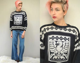 OVERSIZED SWEATER 80s Sweater Grandpa Sweater Boyfriend Sweater Loose Sweater Hipster Sweater Slouchy Sweater Black and White Sweater