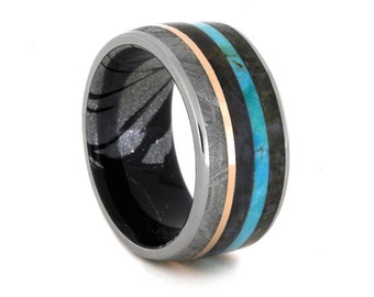 Unique Meteorite And Dinosaur Bone Wedding Band With A Turquoise And Gold Pinstripe, Petrified Wood Ring With A Mokume Sleeve, Titanium Ring