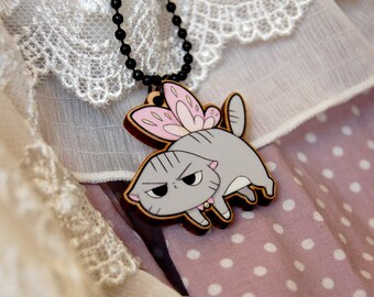 Wooden Fairy Angry Cat Necklace