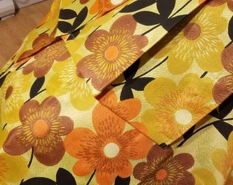 Vintage Floral Curtains, 1960s/1970s, Retro Curtains, Yellow Rings
