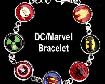 dc marvel bracelet,superman,batmen,spiderman,flash,ironman,captain america,hulk,bracelet,charm bracelet,charms,jewelry,necklaces,earrings