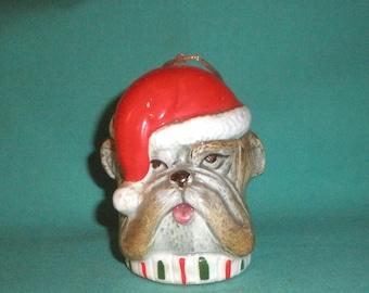 English Bulldog as Santa Claus/ christmas tree ornament/Ceramic
