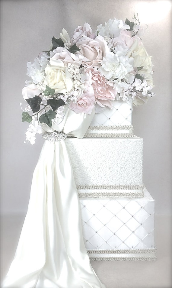 Wedding Card Box With Lock Lace And Soft Pastel Wedding Card