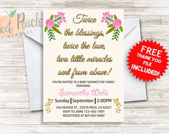 Twice the Blessing Twin Baby Shower Invite 5x7 Digital Personalized Twin Baby Shower, Glitter, Floral 181.0