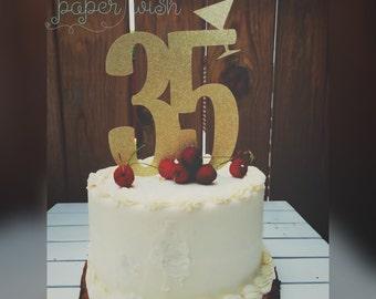 35th birthday cake topper, 35, cake topper, birthday cake topper, birthday decor, birthday decorations