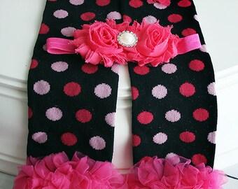Black Pink Baby Leg Warmers, Baby Girl Leg Warmers, Ruffle Leg Warmers, Infant Leg Warmers, Baby Photo Prop, Leg Warmer Set
