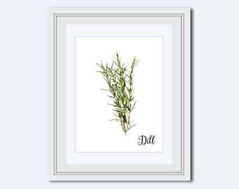 Dill printable - Dill print - herb print - art for kitchen - gift for cook - herb art - Kitchen printable - kitchen wall art - Printable Art