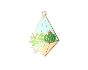 Day Terrarium Enamel Pin (hanging terrarium succulent pin hard enamel pin lapel pin badge enamel jewelry cute cactus jewelry backpack pins)