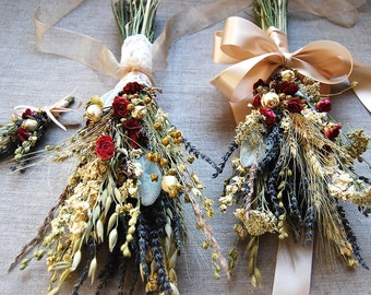 Fall Winter or Holiday Wedding  Brides, Bridesmaids and Flower Girl Bouquets Dried Lavender, Gilded Grains, Larkspur and Spray Roses