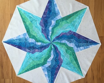 """8-pointed Bargello Star """"Blue Lagoon"""", 3 sizes pattern and detailed tutorial on 23 pages, PDF file"""