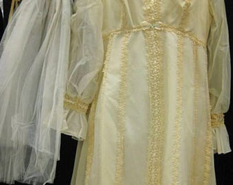 Vintage 60's Hippie Boho Wedding Dress Ecru with Flower Child Veil Costume Yellow Flowing