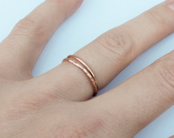Set of 2 Simple Thin Gold Filled Rings - Stackable