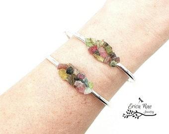 Raw genuine tourmaline gemstone bangle bracelet, raw stone jewelry, boho jewelry, rough gemstone bracelet, rough tourmaline jewelry