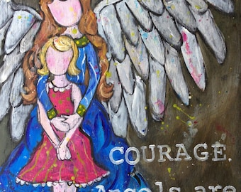 Angels Are Near, Inch Wood Mounted Print By Kristen Feighery