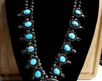 vintage squash blossom necklace, squash blossom, kingman turquoise, navajo squash blossom, vintage navajo