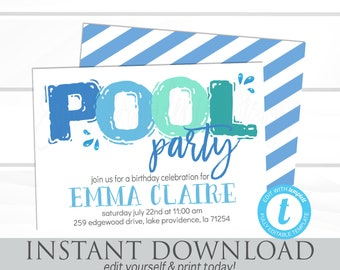 Pool Party Invitation, Pool Party Invite, Girl or Boy Birthday Invitation, Editable Birthday Invitation, Templett, Instant Download