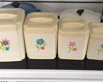 Sears Canister Set, 4 piece, Nesting Storage, 1970's  Flowers, Mod, Kitschy Kitchen, Cottage Chic