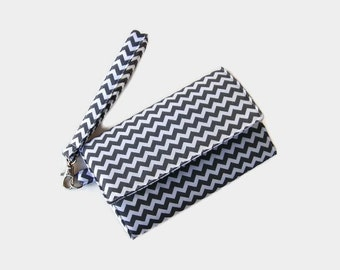 Gray Chevron Cushioned Phone Wristlet Wallet - Trifold Wallet - Gray  Cell Phone Wristlet - Womens' Clutch - Phone Pouch