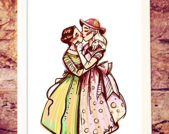 50s Love | Pin up | Art illustration print | Lgbtq pride | Nille Illustrations