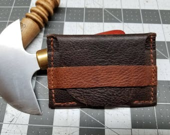 Leather handmade card wallet