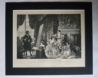 Antique Print, Anthony van Dyck Painting, Children of Charles I, Victorian wood engraving, British Royalty, Hermann Schneider, Baroque Art