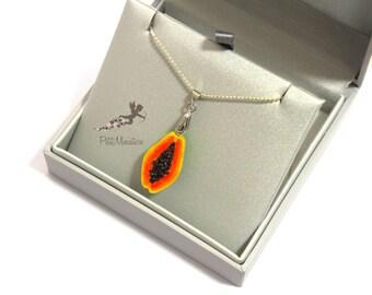 Necklace in fimo papaya-necklace woman-pendant necklace handmade-jewelry jewelry-fimo-bijoux jewelry fimo-handmade jewelry bijoux handmade
