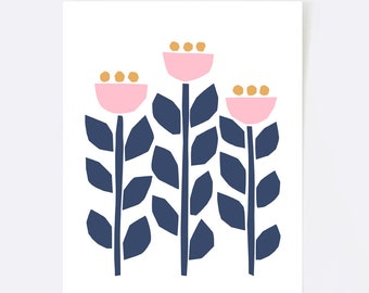 Scandinavian print, wall art, illustration, scandinavian art, folk art, colorful wall art, flowers, pink, blush, yellow, navy, botanical