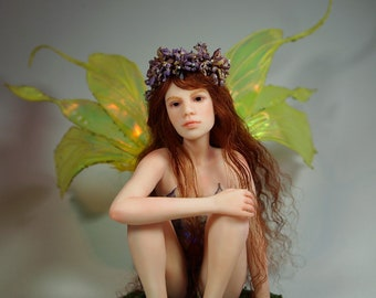 RESERVED May Fairy Hand-sculpted OOAK Polymer Clay Art Doll Faerie Sculpture Nenúfar Blanco