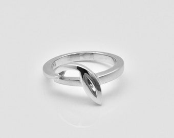 Sterling Ring // Silver Diamond Ring // 925 Sterling Silver // Real Diamond Ring // Matte Rhodium Finish // Diamond Promise Ring