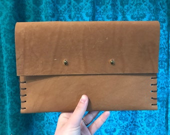 Handmade Leather Clutch Bag in Rich Brown, Made from Topgrain Cowhide