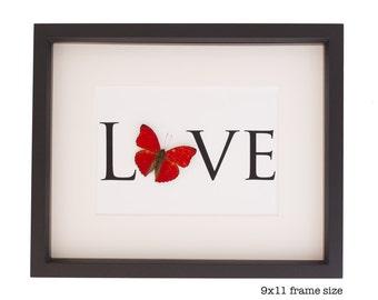 Framed Butterfly Archival Valentine Love Print
