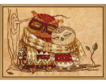 Cross Stitch Kit Family warmth (owl)