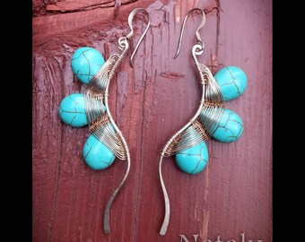 Wire Wrapped Turquoise Earrings,  Extra Long Earrings Sterling Silver Blue Earrings for Women, Dangle Earrings, Boho Earrings, Wave Earrings