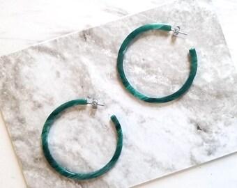 Peacock Green Hoop  Earring, Simple Minimalist Tortoise earrings