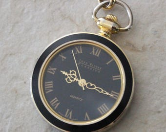 Vintage Joan Rivers Pocket Watch Lariat Chain Necklace