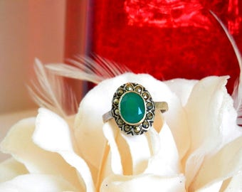 Chrysoprase Ring, Chrysoprase Jewelry, Green Stone  Ring, Emerald Green Ring