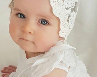 Gorgeous Vintage Lace Bonnet, photo prop, photography, lace bonnet, Bonnet, lace, white photo prop.